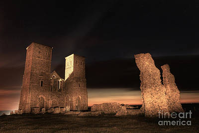 Reculver Photograph - Reculver Towers By Night by Lee-Anne Rafferty-Evans