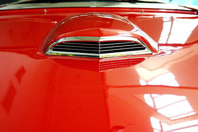 Photograph - Red 1955 Ford Thunderbird . Hood View by Wingsdomain Art and Photography