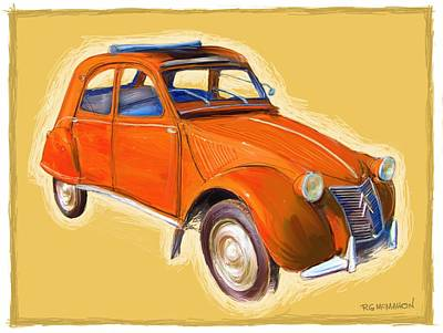 Digital Art - Red 2cv by RG McMahon