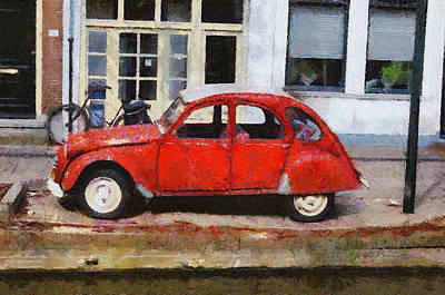 2cv Digital Art - Red 2cv by Robert Hayes