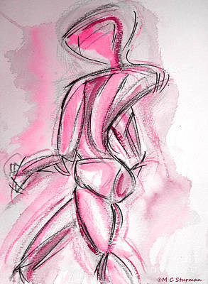 Red Abstract Nude Art Print by M C Sturman