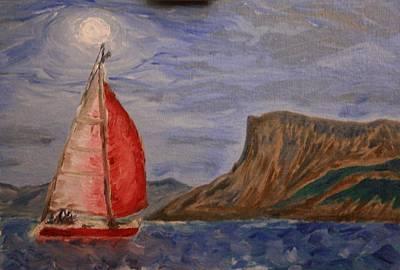 Paul Morgan Painting - Red Alert At Fairhead By Moonlight by Paul Morgan