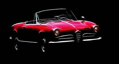 Red Alfa Romeo 1600 Giulia Spider Art Print by Steve K