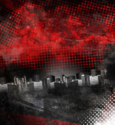Photograph - Red And Black City Grunge Background by Angela Waye