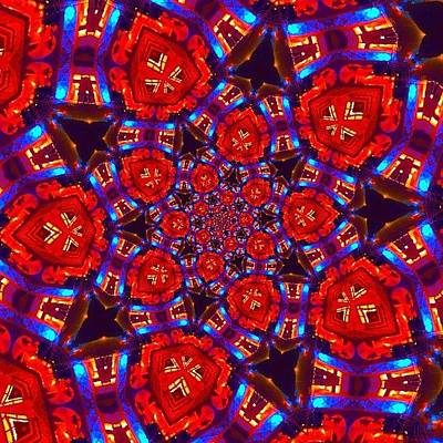 Fractal Wall Art - Photograph - #red And #blue #crazy #fractalart by Pixie Copley