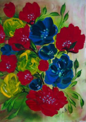 Painting - Red And Blue Flowers by Sima Amid Wewetzer
