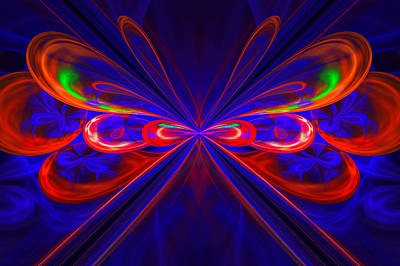 Digital Art - Red And Blue Fractal by Sandy Keeton