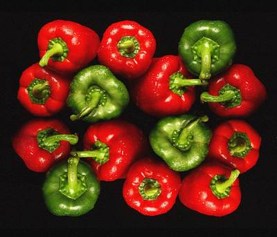 Red And Green Peppers Art Print by Victor De Schwanberg