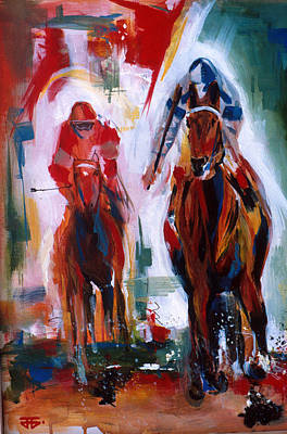 Painting - Red And Green Race by John Jr Gholson
