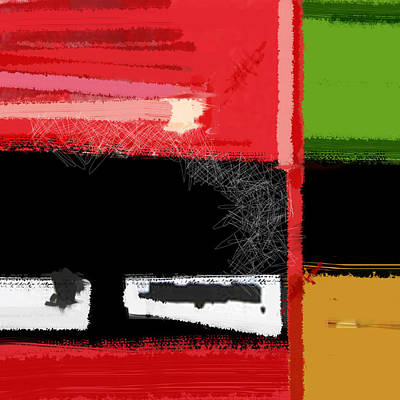 Forms Painting - Red And Green Square by Naxart Studio