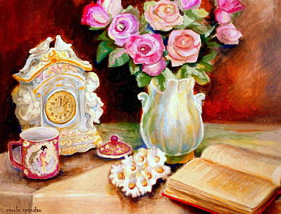 Painting - Red And Pink Roses And Daisies - The Doves Of Peace-angels And The Bible by Carole Spandau