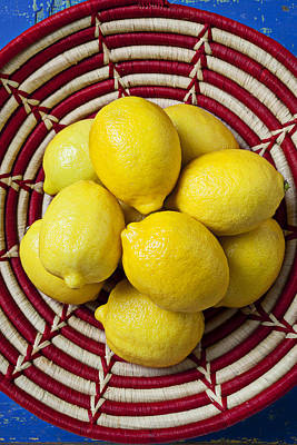 Sour Photograph - Red And White Basket Full Of Lemons by Garry Gay