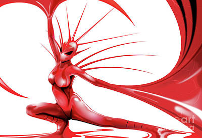 Print featuring the drawing Red Angel by Brian Gibbs