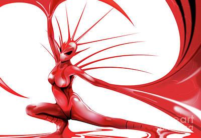 Digital Art - Red Angel by Brian Gibbs