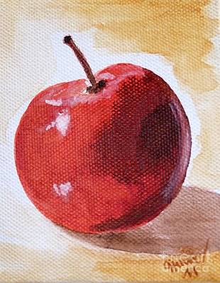 Brown Painting - Red Apple by Christine Huwer