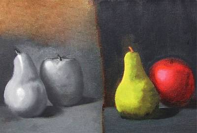 Kinky Painting - Red Apple Pears And Pepper In Color And Monochrome Black White Oil Food Kitchen Restaurant Chef Art by M Zimmerman MendyZ