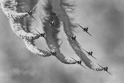 Red Arrows Black And White Art Print by Ken Brannen