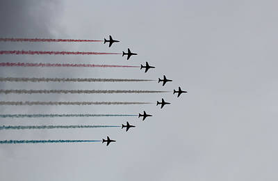 Flight Formation Photograph - Red Arrows Horizontal by Jasna Buncic
