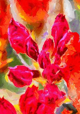 Digital Art - Red Azalea Buds by Fran Woods