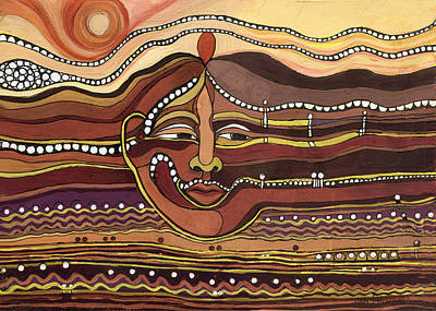 Painting - Red Aztec Face In Nature Landscape Abstract Fantasy With Earth Colors Sunset And Skyline by Rachel Hershkovitz