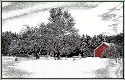 Photograph - Red Barn And Apple Trees by Wayne King