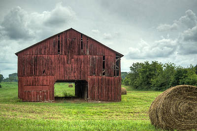 Red Barn And Hay Bales 2 Art Print by Douglas Barnett