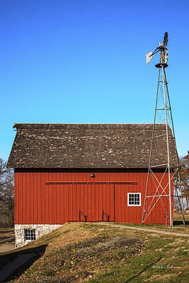 Photograph - Red Barn And Windmill by Edward Peterson