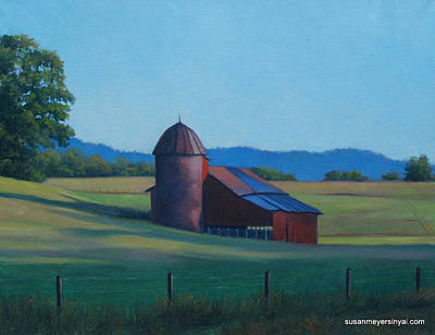 Susanmeyersinyai.com Painting - Red Barn At Morning by Susan Sinyai