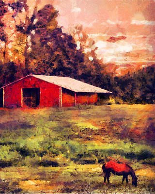 Contemporary Barn Landscape Painting - Red Barn At Sunset by Jai Johnson