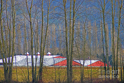 Abstract Oil Paintings Color Pattern And Texture - Red Barn behind Trees by Randy Harris