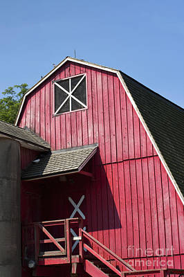 Red Buildings Photograph - Red Barn by Blink Images