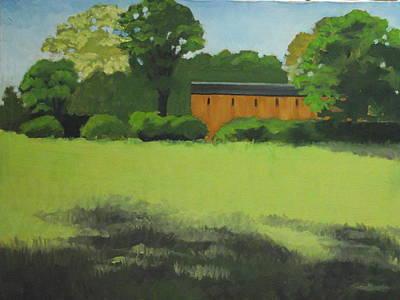 Red  Barn  In  Meadow Art Print by Robert Rohrich