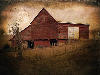 Red Barn In The Evening Print by Kathy Jennings