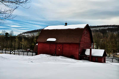 Red Barn In Winter Digital Art - Red Barn In The Snow by Bill Cannon