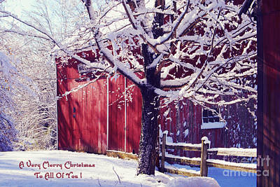 Red Barn In The Winter Connecticut Usa Art Print by Sabine Jacobs