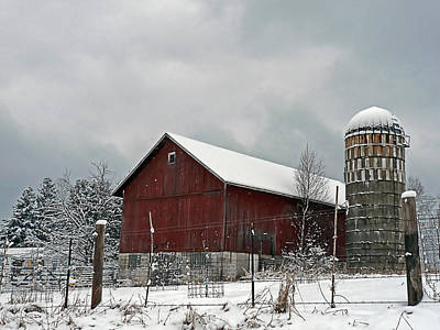 Art Print featuring the photograph Red Barn In Winter by Judy  Johnson