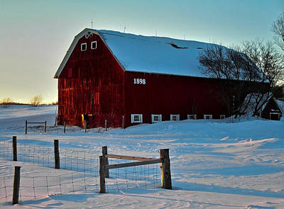 Photograph - Red Barn In Winter ... by Juergen Weiss
