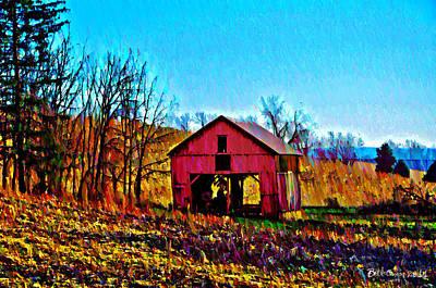 Red Barn On A Hillside Art Print by Bill Cannon