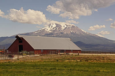 Nighttime Street Photography - Red Barn under Mount Shasta by Mick Anderson