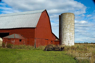 Red Barn With Silo Art Print by Ginger Harris