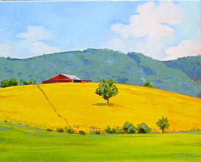 Painting - Red Barn Yellow Hill by Sarah Gayle Carter