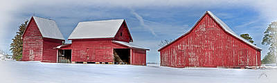 Smithfield Photograph - Red Barns In The Snow by Williams-Cairns Photography LLC