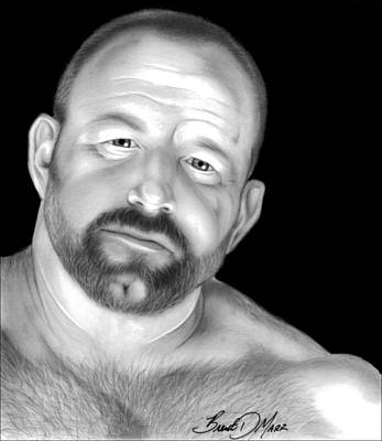 Homoerotic Drawing - Red Bear by Brent  Marr