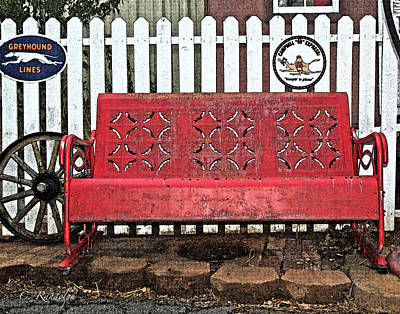 Photograph - Red Bench by Cheri Randolph