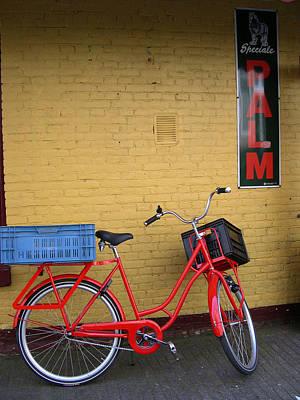Red Bike With Blue Basket Art Print by Jill Pro