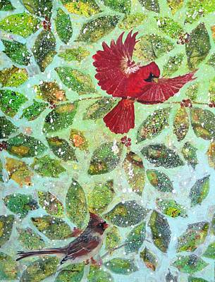 Representative Abstract Mixed Media - Red Birds In The Snow by David Raderstorf