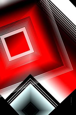 Form Digital Art - Red Black And White by Mario Perez