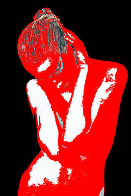 Night Out Digital Art - Red Black Drama by Naxart Studio