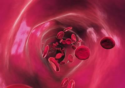 Red Blood Cells In Blood Vessel, Artwork Art Print by David Mack