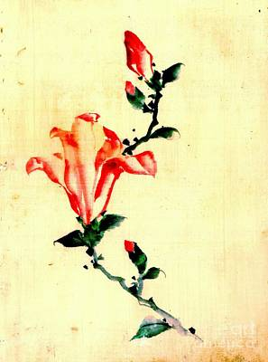 Red Blossom With Buds 1840 Art Print
